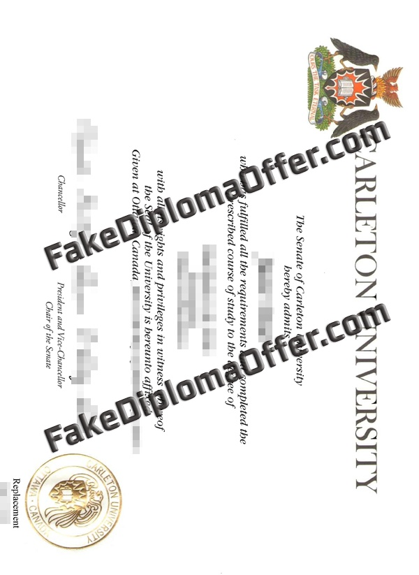 Purchase Carleton University fake diploma from CAD