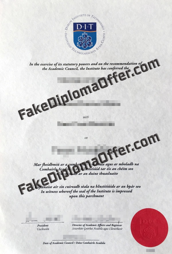 Buy DIT fake diploma and transcript from IreLand