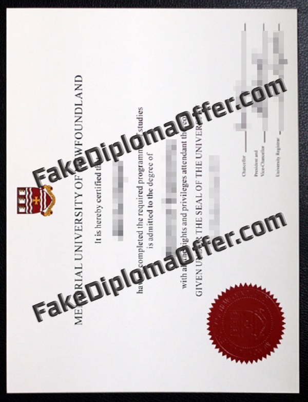 Purchase MUN fake diploma and transcript from CAD