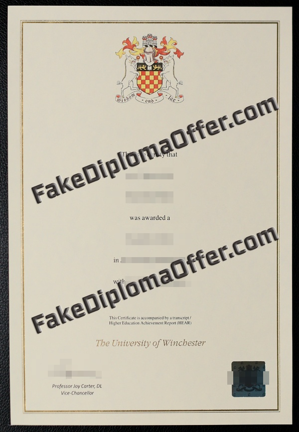 Buy University of Winchester fake diploma from UK