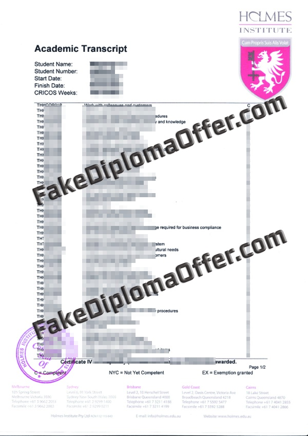 Buy Holmes Institute fake Transcript and diploma online