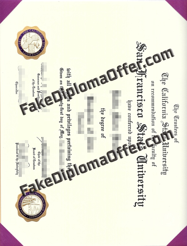 Purchase SF State fake diploma and transcript from USA